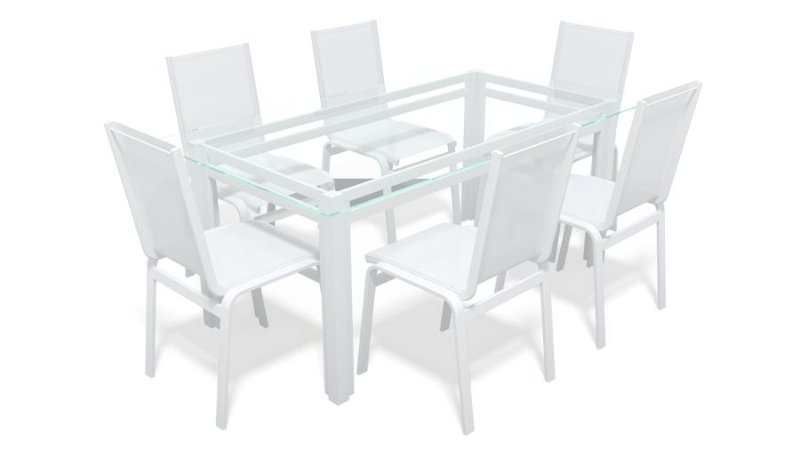 Sala Jantar Retangular 6 Lugares Alumínio Branco Tela Branco