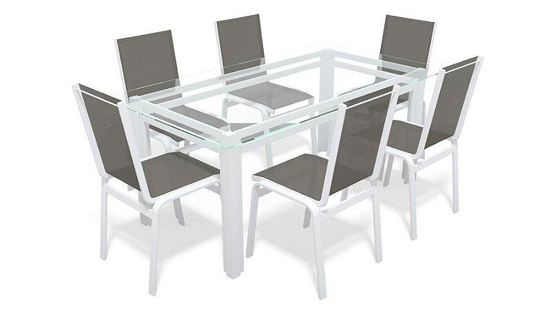 Sala Jantar Retangular 6 Lugares Alumínio Branco Tela Mescla