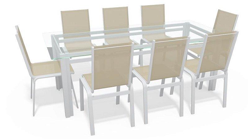 Sala Jantar Retangular 8 Lugares Alumínio Branco Tela Bege