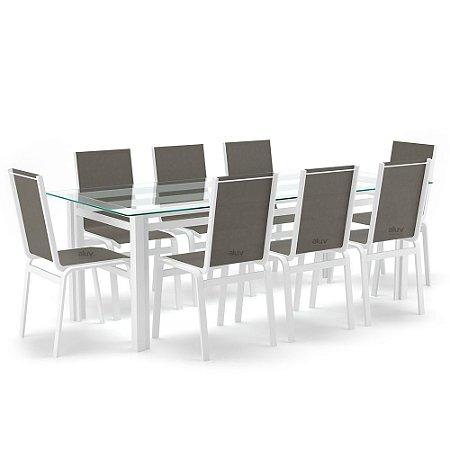 Sala Jantar Retangular 8 Lugares Alumínio Branco Tela Fendi