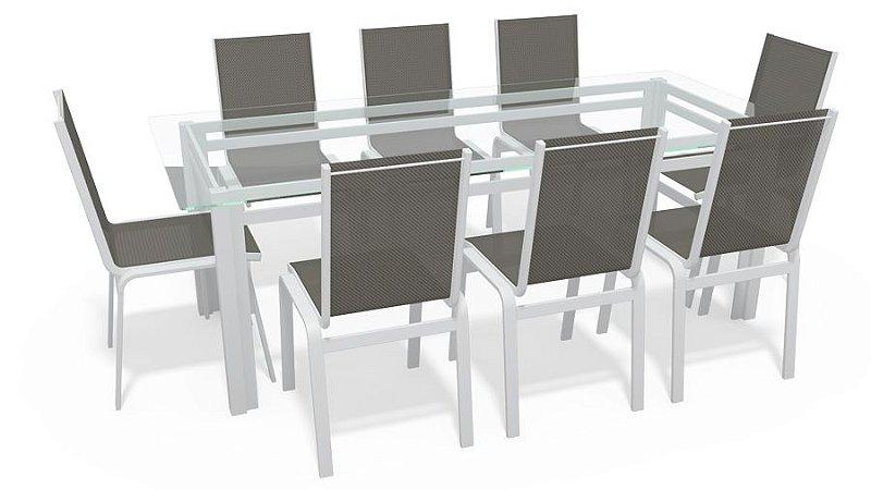 Sala Jantar Retangular 8 Lugares Alumínio Branco Tela Mescla