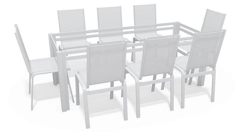 Sala Jantar Retangular 8 Lugares S/ Vidro Branco Tela Branco