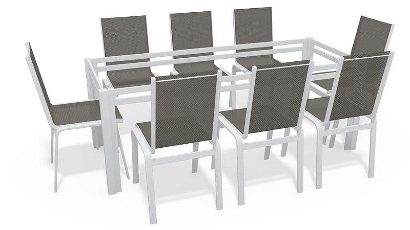 Sala Jantar Retangular 8 Lugares S/ Vidro Branco Tela Mescla