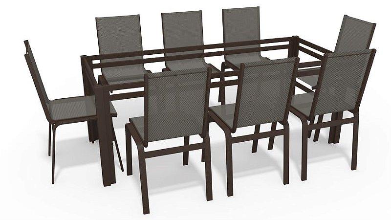 Sala Jantar Retangular 8 Lugares S/ Vidro Marrom Tela Mescla
