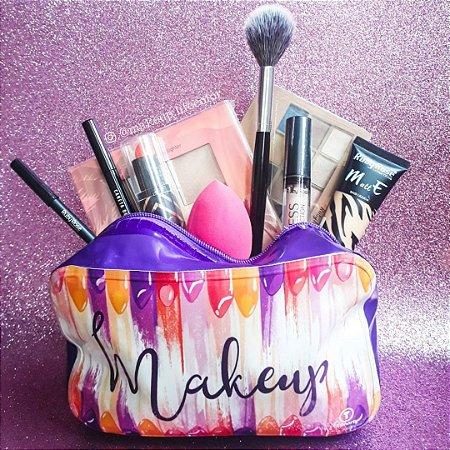 Kit de maquiagem com necessaire 9 peças