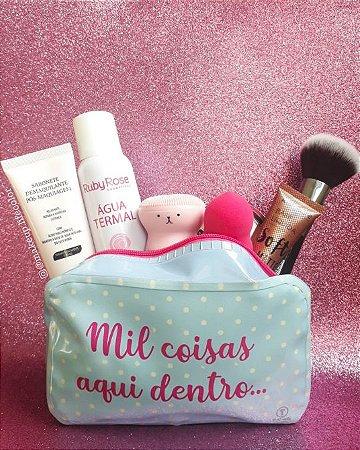 Kit de maquiagem com necessaire 7 peças