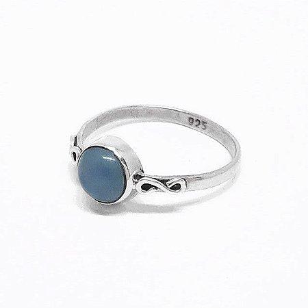 Anel em Prata 925 Indiano e Calcedônia Azul Feito a Mão