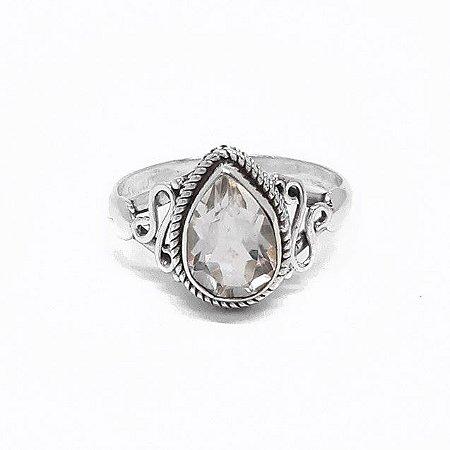Anel Prata 925 Indiano Pedra Natural Cristal Gota