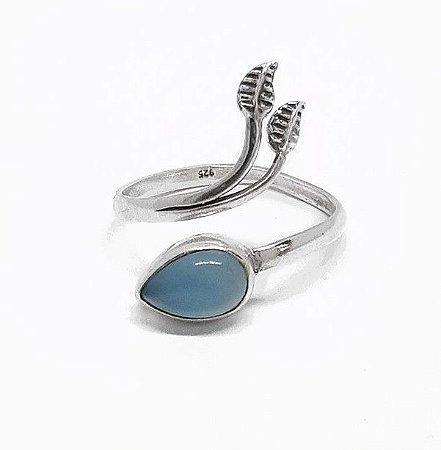 Anel Ajustável de Prata 925 Indiano e Calcedônia Azul