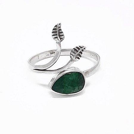 Anel ajustável Prata 925 Indiano Esmeralda Feito a Mão