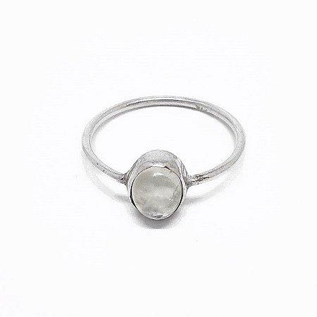 Anel Indiano de Prata 925 com Pedra da Lua