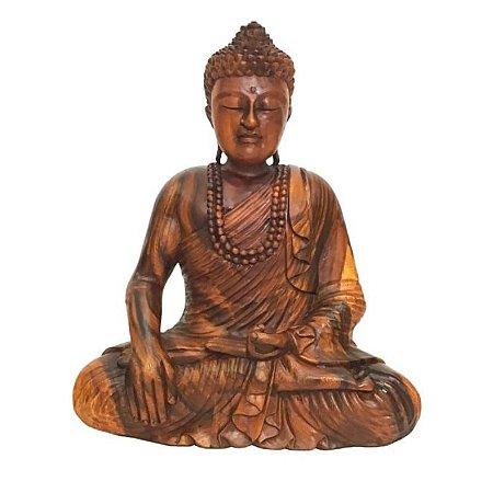 Estátua de Buda com Japamala Madeira suar Bali 52cm