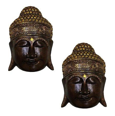 Kit Máscara Carranca Buda Indonésia Bali 30cm - 2 Pcs