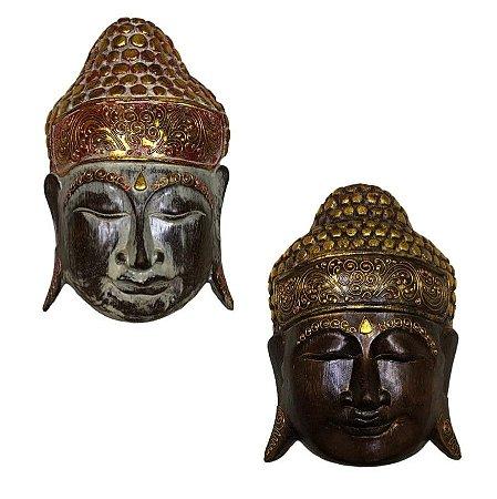 Kit Máscaras Carranca Buda Indonésia Bali 30cm - 2 Pcs