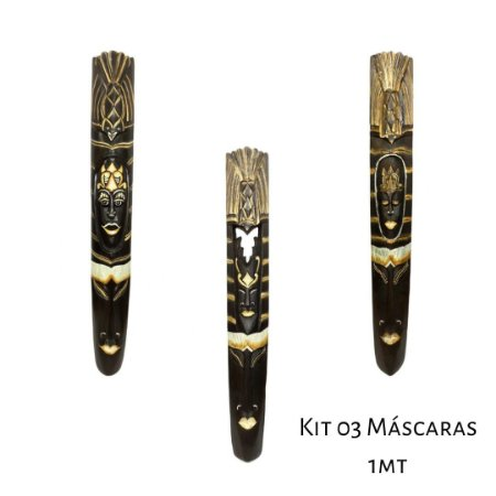 kit 03 Máscaras étnicas Decorativas de Parede 1 metro