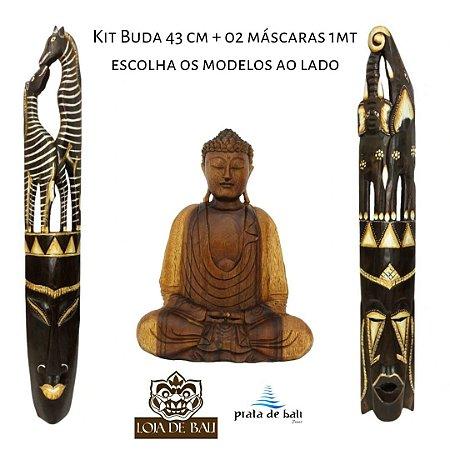 Kit Decorção Buda Madeira 43cm + 02 Máscaras Mad 1MT