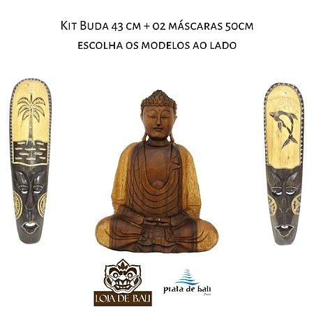 Kit Decorção Buda Madeira 43cm + 02 Máscaras Mad 50cm