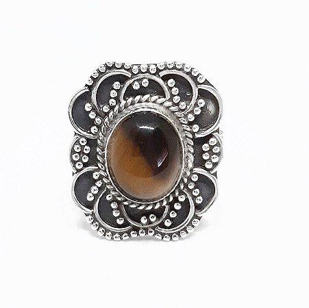 Anel de Prata Bali 925 Filigrana e Pedra Olho de Tigre