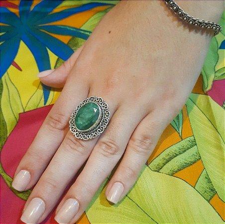 Anel Prata Bali 925 Filigrana com Pedra Natural Esmeralda