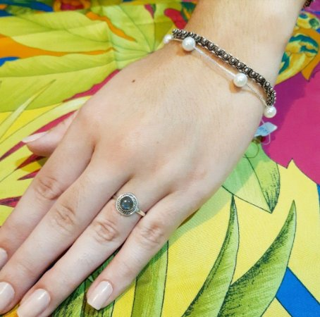 Anel Bali Prata 925 Pedra Natural Labradorita