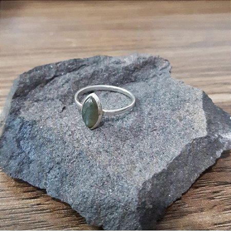 Anel Prata Bali 925 Pedra Natural Labradorita