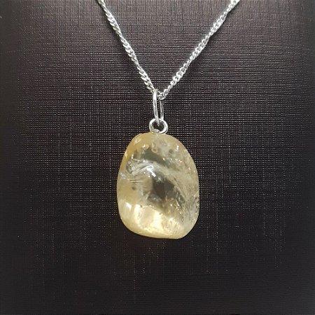 Pingente Prata 925 Pedra Natural Rolada Citrino Amarelo + Corrente Prata 925 Singapura 1mm x 45cm
