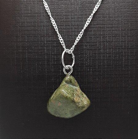 Pingente Prata 925 e Pedra Natural Jaspe Verde + Corrente Prata 925 Singapura 1mm x 45cm
