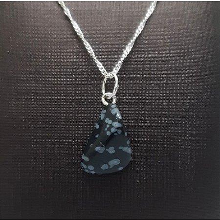 Pingente Pedra Natural e Prata 925 Obsidiana Floco de Neve + Corrente Prata 925 Singapura 1mm x 45cm