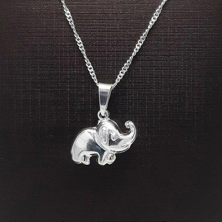 Pingente Prata 925 Elefante Dois Lados Liso + Corrente Prata 925 Singapura 1mm x 50cm