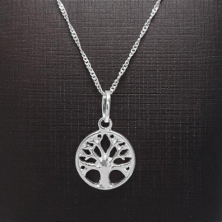 Pingente Prata 925 Árvore da Vida Vazado + Corrente Prata 925 Singapura 1mm x 45cm