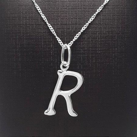 Pingente em Prata 925 letra R + Corrente Prata 925