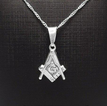 Pingente Maçonaria em Prata 925  Esquadro e Compasso