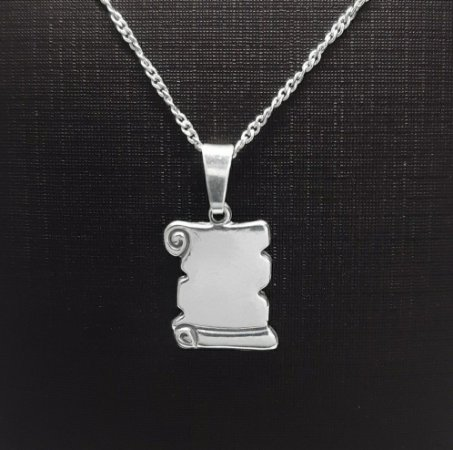 Pingente em Prata 925 Pergaminho + Corrente Prata 925 Singapura 1mm x 45cm