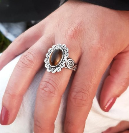 Anel de Prata 950 com Pedra Natural Olho de Tigre