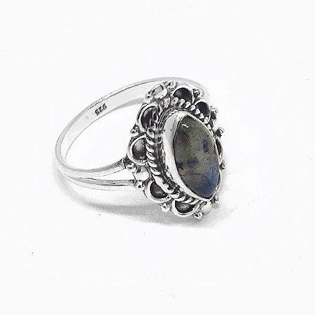 Anel indiano Prata 925 Pedra Natural Labradorita .