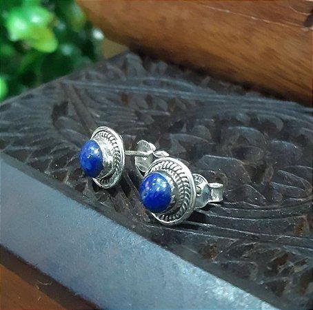Brinco Indiano Prata 925 Pedra Natural Lapis Lazuli.