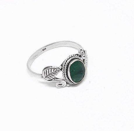 Anel Indiano Prata 925 e Pedra Natural Esmeralda