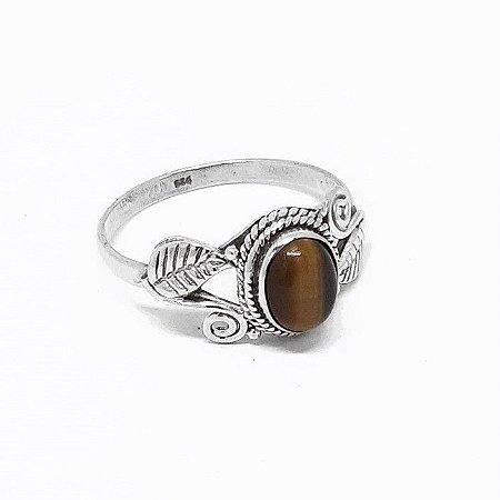 Anel Indiano de Prata 925 com Pedra Olho de Tigre