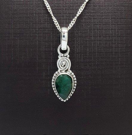 Pingente Indiano em Prata 925 Gota de Esmeralda