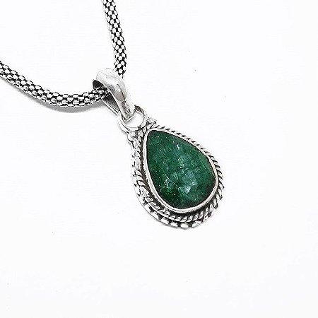 Pingente Indiano Prata 925 Esmeralda