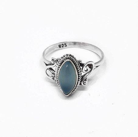 Anel Prata 925 Indiano e Pedra Natural Calcedônia Azul