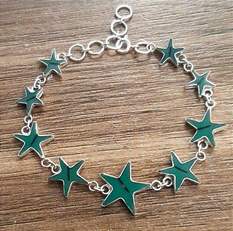 Pulseira Estrela em Prata 925 com Turquesa