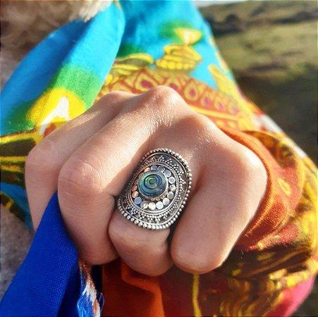 Anel de Prata Bali 925 detalhado com Abalone