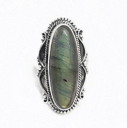 Anel grande de Prata Bali 925 Pedra Natural Labradorita