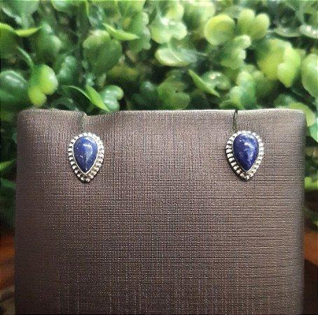 Brinco Indiano Gota em Prata 925 e Pedra Lápis Lazuli.