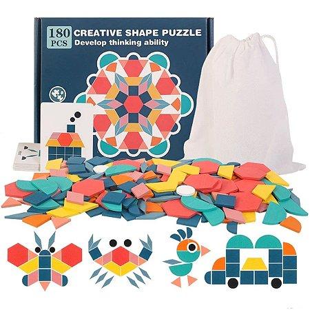 Brinquedo Educativo Quebra Cabeça Forma Geométrica 180 Peças
