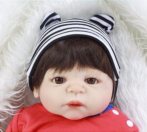 Boneca Bebe Reborn 55cm menino 100% silicone - 334RFY8DG