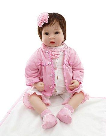 Boneca Bebe Reborn 55cm Menina - SX7M57VA5
