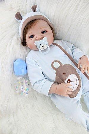 Boneca Bebe Reborn 55cm menino 100% silicone - QCVK88WM9