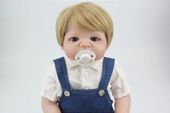 Boneca Bebe Reborn 55cm menino 100% silicone - 5H2ENPG26
